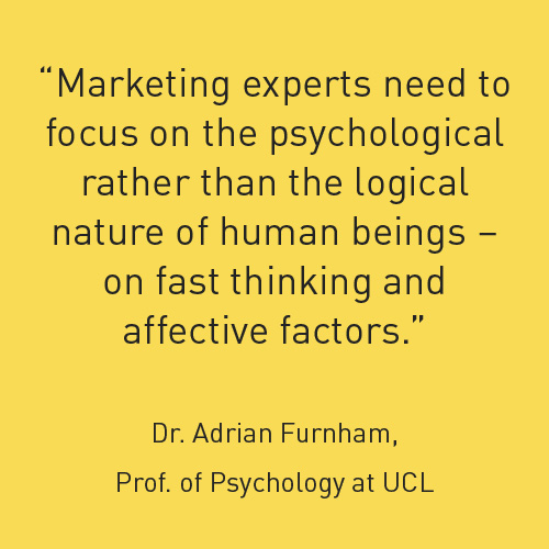 marketing experts need to focus on the psychological rather than the logical nature of human beings - on fast thinking and affective factors