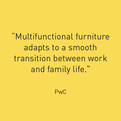 Multifunctional furniture adapts to a smooth transition between work and family life
