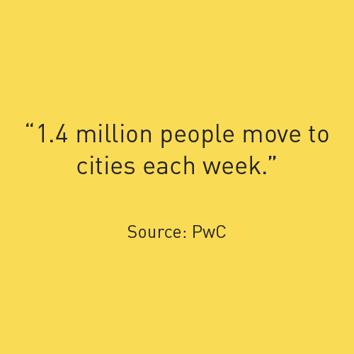 1 million people move to cities each week